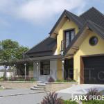 Проект компактного будинку з мансардою і гаражом