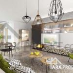 Интерьер гостиной в проекте двухэтажного дома Эрик