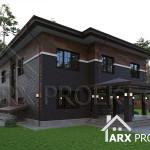 Проект двухэтажного дома с гаражом в стиле Прерий