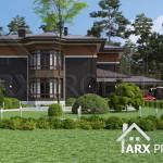 Проект двухэтажного дома в стиле Райта