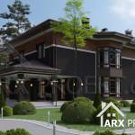 Проект двухэтажного дома в стиле Райта с гаражом и террасой