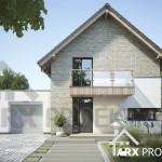 Проект двухэтажного дома 11х11 с гаражом и террасой