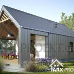 Проект одноэтажного дачного дома с крытой террасой