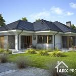 Проект одноэтажного дома с террасой и гаражом