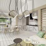 Інтер'єр вітальні невеликого одноповерхового проекту будинку