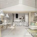 Інтер'єр вітальні невеликого одноповерхового проекту будинку Каріна