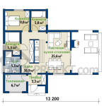 План первого этажа одноэтажного проекта дома