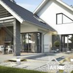 Проект дома Магнус с мансардою, гаражом и крытой террасой с зоной барбекю