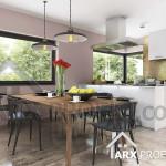 Интерьер кухни столовой в проекте дома с мансардой и вторым светом