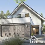 Проект дома Марго с мансардой и гаражом для двух авто для узкого участка