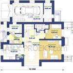 План первого этажа двухэтажного проекта дома 12х12