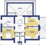 План второго этажа двухэтажного проекта дома 12х12 с гаражом