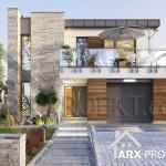 Проект двоповерхового будинку Гарольд с гаражом, терасою і плоским дахом