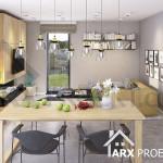 Інтер'єр вітальні та їдальні в проекті двоповерхового будинку з плоским дахом і гаражом Гарольд