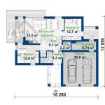 План першого поверху проекту будинку з мансардою