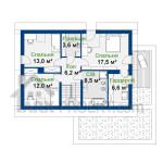План мансардного поверху проекту будинку з мансардою