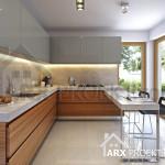 Інтер'єр кухні у проекті будинку з мансардою
