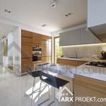 Інтер'єр кухні у проекті будинку з мансардою та гаражом Жанна