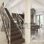 """Интерьер лестницы в гостиной с вторым светом в проекте одноэтажного дома с гаражом """"Виола"""""""