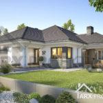 """Проект одноповерхового будинку з гаражем на два авто, другим світлом та терасою """"Віола"""""""