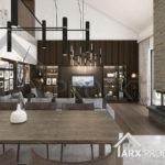 Інтер'єр вітальні з другим світлом у проекті одноповерхового будинку