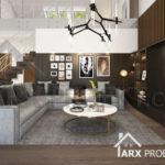 Интерьер гостиной с вторым светом в проекте одноэтажного дома