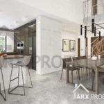 Интерьер столовой с вторым светом в проекте одноэтажного дома
