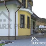 Вид на терасу проекту будинку з мансардою