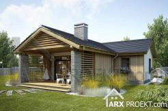 Проект небольшого одноэтажного дома с крытой террасой 70 м Карина