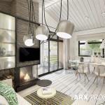 Интерьер гостиной небольшого одноэтажного проекта дома