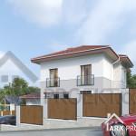 Проект двоповерхового будинку 12х12 з гаражом і критою терасою