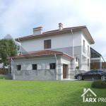 Проект двухэтажного дома 12х12 с гаражом и крытой террасой