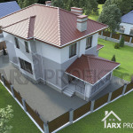 Проект двухэтажного дома 12х12 с гаражом террасой