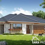 Проект одноповерхового будинку з гаражем для двох авто Альпіна 2