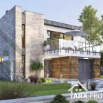 Проект двухэтажного дома Гарольд с гаражом и плоской крышей