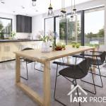 Интерьер кухни и столовой в проекте двухэтажного дома Гарольд
