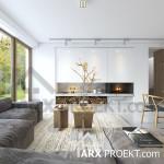 Интерьер гостиной проекта дома Яна с мансардой