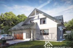 Проект дома с мансардой и гаражом для двух авто Фред