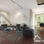 Интерьер гостиной проекта одноэтажного дома Лео